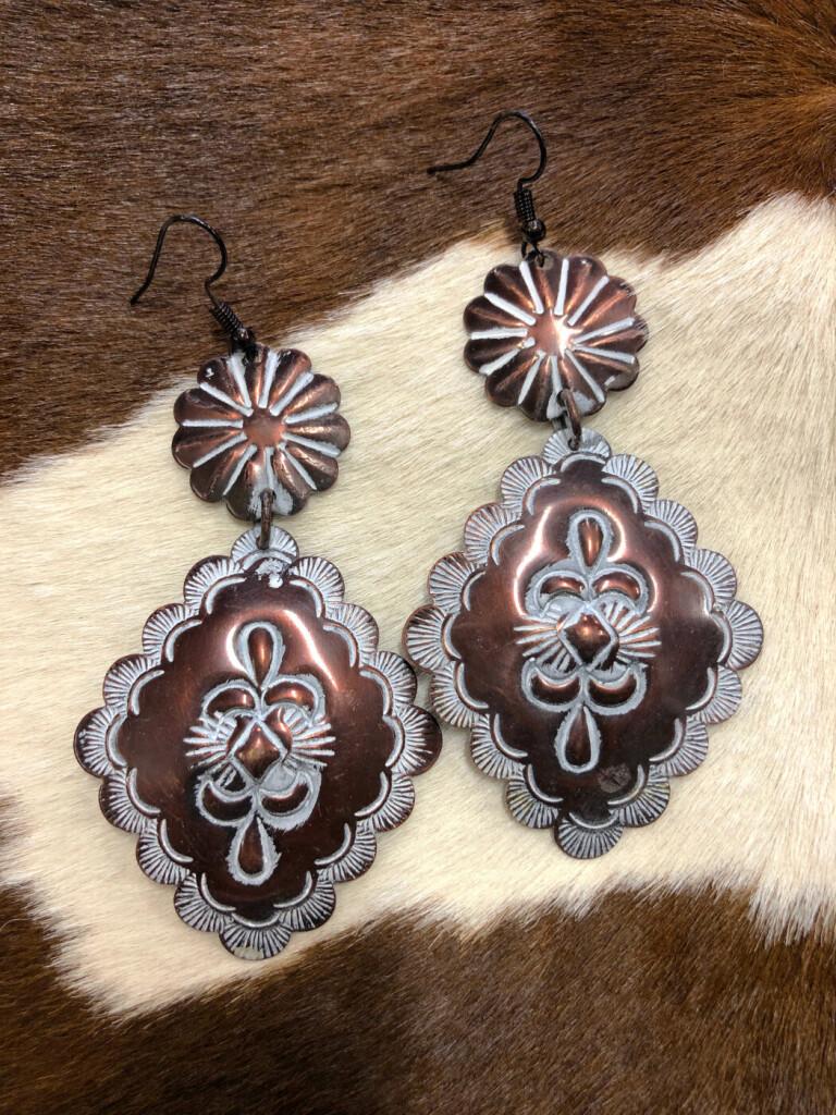 """"""" Carol """"  Antique Western Earrings ( Copper )"""