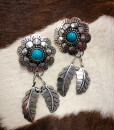 """ Dream Flower "" Western Style Hammered Earrings ( Silver )"