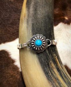 Western Flower Concho Bangle Bracelet ( Silver / Turquoise )