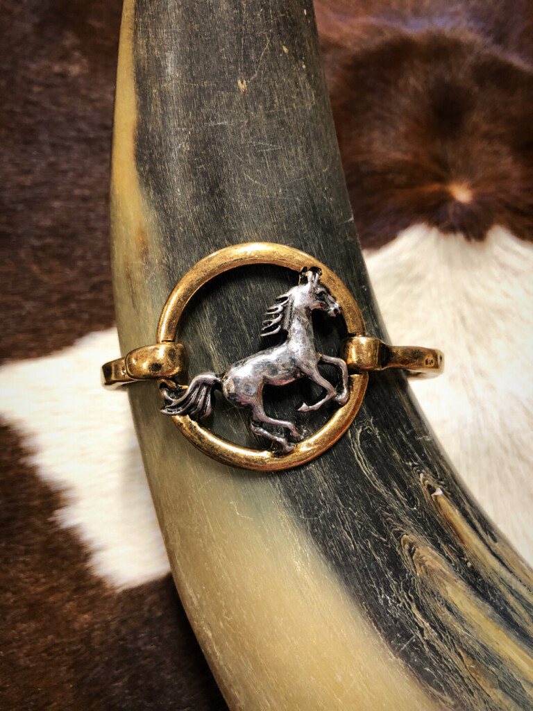 Hammered Western Horse Bangle ( Two Tone )