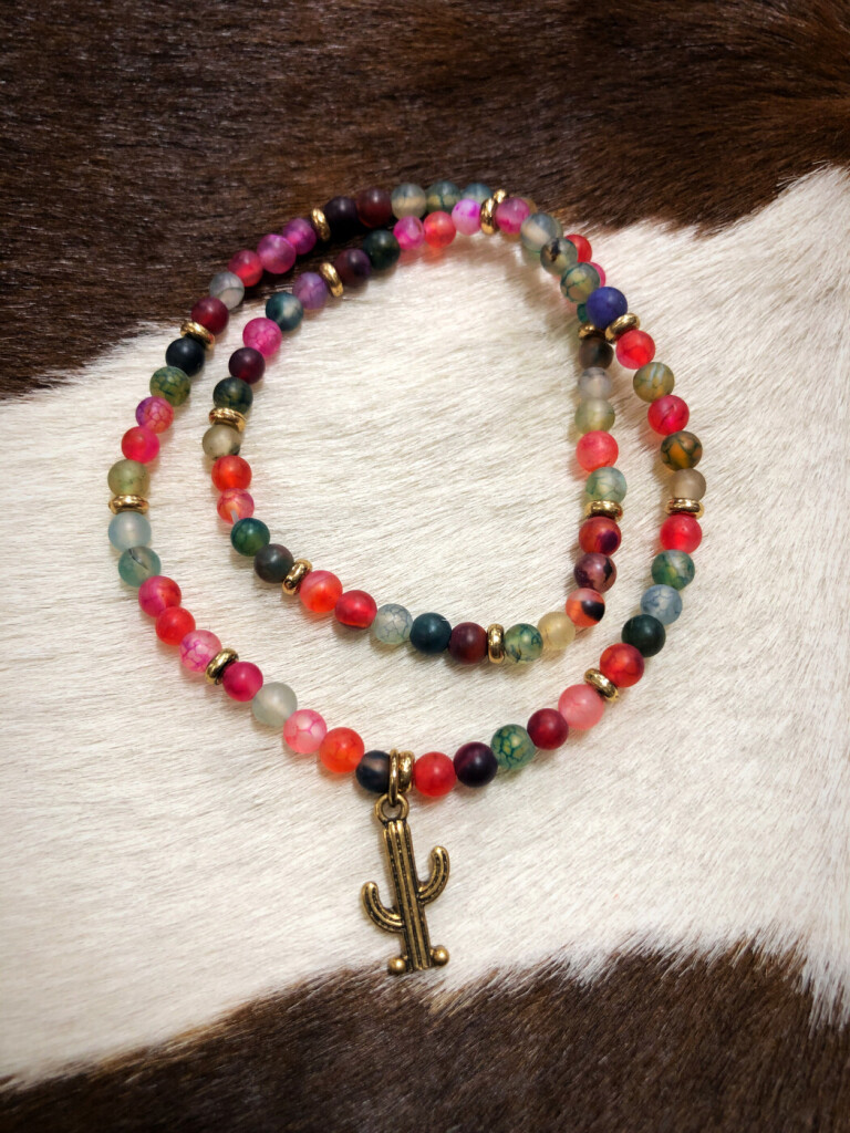 Cactus Charm & Beaded Wrap Bracelet ( Multi )
