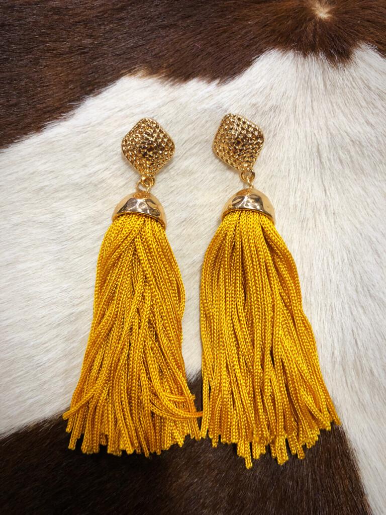 Janet  Tassel Earrings ( Mustard ) - Ale Accessories