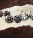 """ Beck "" Boho Earrings Set ( Antique Silver )"