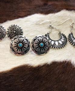 """"""" Beck """" Boho Earrings Set ( Antique Silver )"""