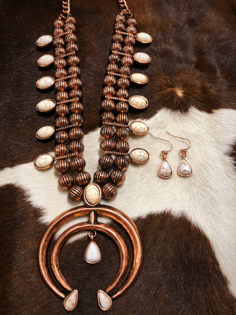 """ Long Ride "" Western Squash Blossom Necklace Set"