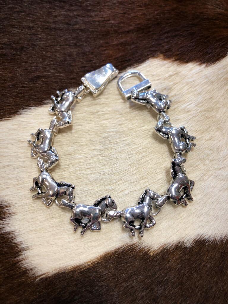 Western Horse Magnetic Closure Bracelet ( Antique Silver )