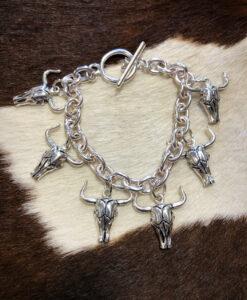 Western Bull Charm Bracelet ( Silver )