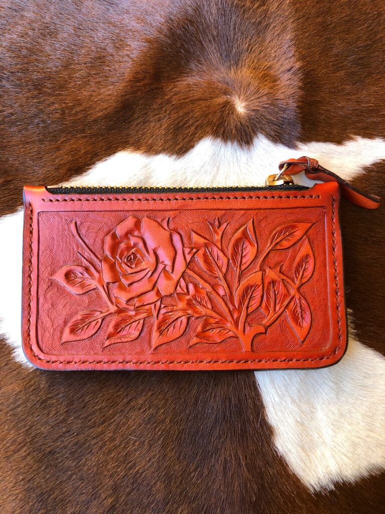 tooled leather zipper pouch