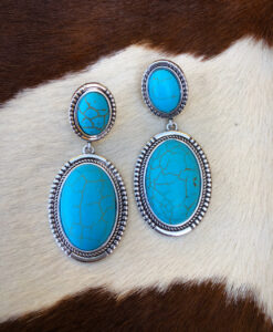 """ A Bit Western "" Oval Shape Earrings ( Turquoise )"