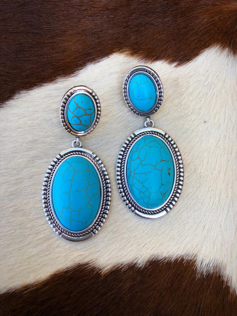 """"""" A Bit Western """" Oval Shape Earrings ( Turquoise )"""