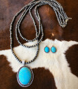 """"""" Layered Navajo Pendant Necklace ( Turquoise )"""