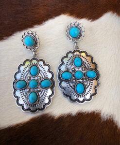 """ Anne "" Western Concho Earrings ( Turquoise )"