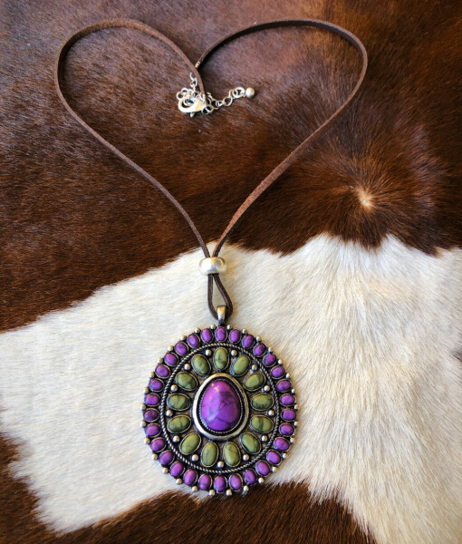 """ Samantha "" Flower Concho Necklace ( Purple / Mix )"