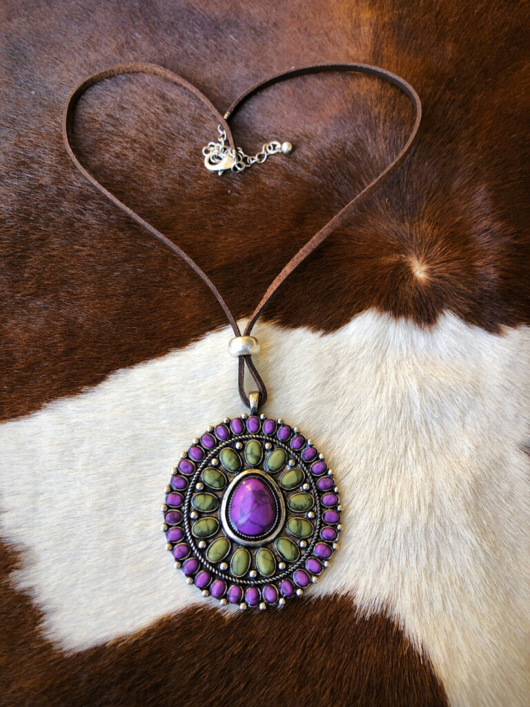 """ Samantha "" Flower Concho Necklace ( Purple / Mix )"