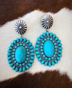 """ Debby "" Western Concho Earrings ( Turquoise )"