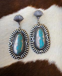 """ Estrella "" Western Stylish Earrings ( Turquoise / White )"