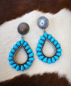 """"""" Sandra """" Western Concho & Teardrop Earrings ( Turquoise )"""