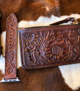 """"""" Sunflower """" Tooled Leather Card Case Zipper Pouch ( Brown )"""