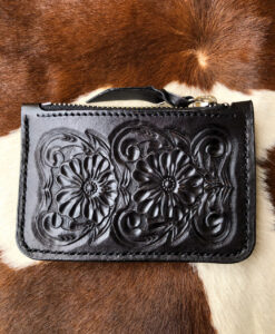 """ Florecita "" "" Sunflower "" Small Tooled Leather Card Case/ Zipper Pouch ( Black )"