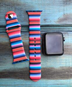 """ Girly Serape "" Print Apple Watch Band ( Silicone / Multi 03 )"