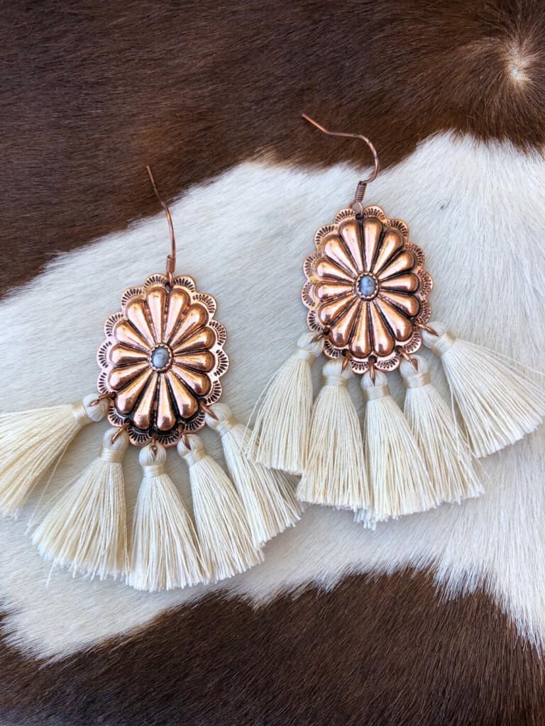western concho tassel earrings