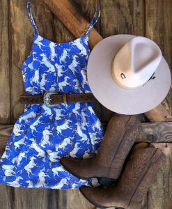 """ Hailey  "" Western Horse Print Dress ( Blue )"