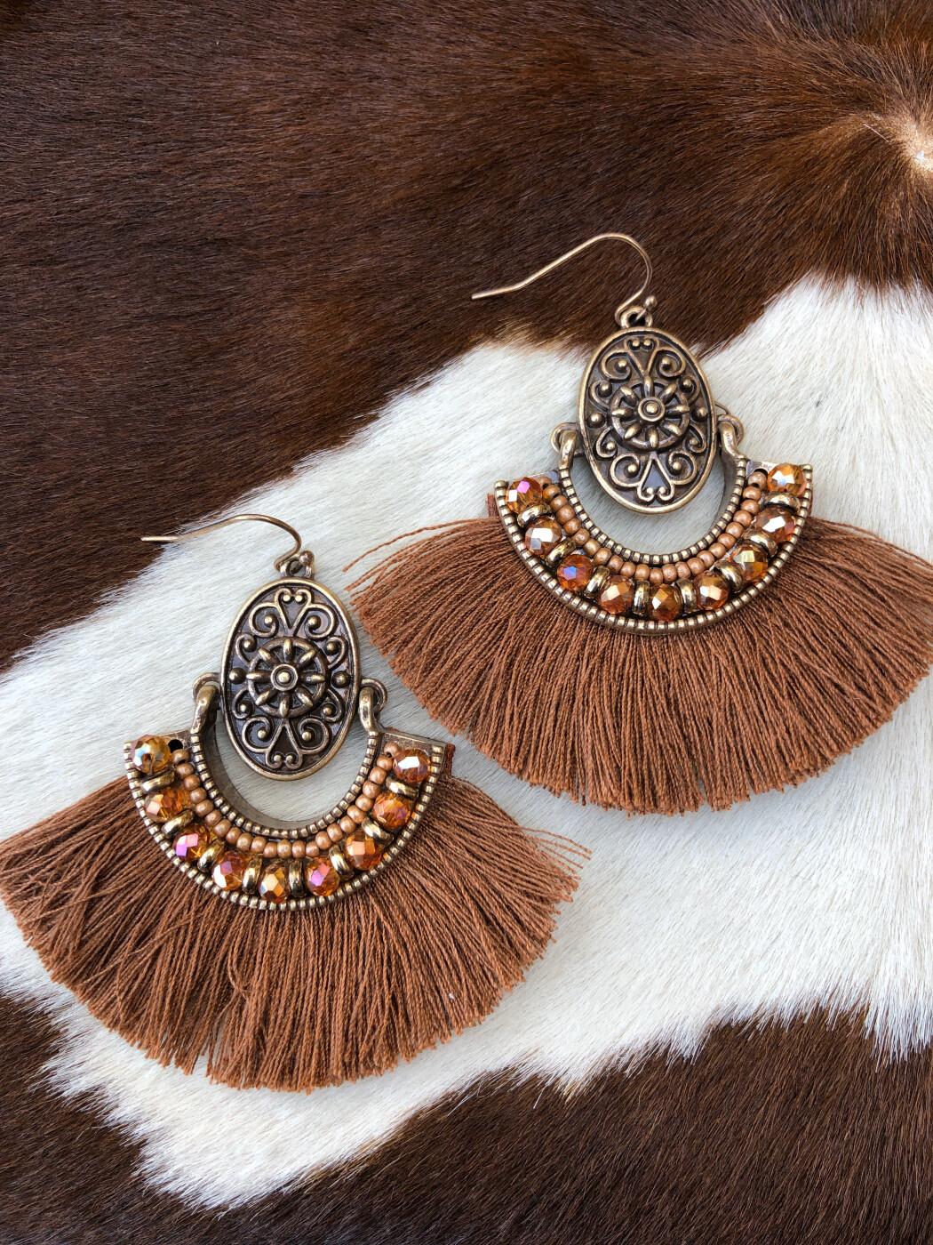 Brown boho tassel earrings