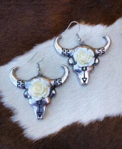 western bull skull earrings