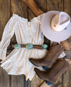 """ Elena "" Off The Shoulder Eyelet Romper ( Natural )"