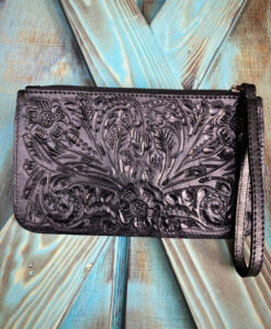 """ Tory "" Floral Tooled Leather Wristlet Zipper Pouch ( Black )"